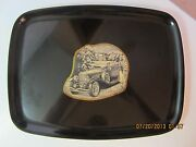 Vintage Black Couroc Serving Tray By Monterey-inlay Antique Auto-resin-50's-60's