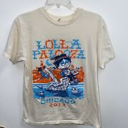 2013 Lollapalooza Tour Shirt Grant Park Chicago 2 Sided Cream See Measurements