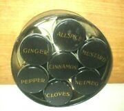 Antique Tin Spice Box Containing 7 Small Spice Cans With Names On Top