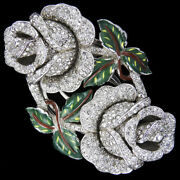Coro Jewels Of Fantasy Pave Flowers And Enamel Leaves Double Roses Pin Clip Duette