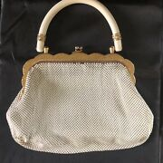 1940and039s Vintage Whiting And Davis Stamped White Mesh Purse With Bakelite Handle
