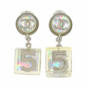 Coco Logos Swing No.5 Cube Earrings Clear 97p Vintage 90118770