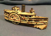 Antique Early 1900andrsquos A.c. Williams 6andrdquo Cast Iron Steam Paddle Wheel River Boat
