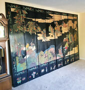 Vintage Asian Chinese 8 Panel Room Divider Black Wood People Ducks Trees 8x13and039