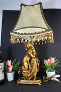 Gorgeous Brass Young Praying Girl Table Lamp 1960s