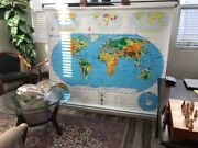 Vintage Nystrom Educational Pull Down Wall Map The World And The United States