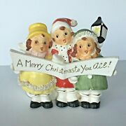Vtg And039a Merry Christmas To You Alland039 Planter Vase Trio Of Carolers Thames Japan