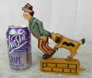 Antique 1940s Carved Wooden Mechanical Push Motion Dog Biting At Man Toy Signed