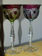Two Amazing Vintage Roemer Wine Crystal Baccarat 2 Colors Amethyste Yelow