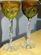 Two Amazing Vintage Roemer Wine Crystal Baccarat 2 Colors Orange Yelow