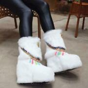Womens Real Rabbit Fur Mid Calf Snow Ankle Boots Hidden Wedge White Furry Shoes
