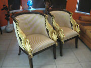 French Empire Style Gilded Swan Arm Barrel Chairs