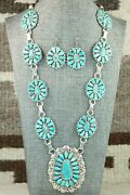 Turquoise And Sterling Silver Necklace And Earrings - Justina Wilson
