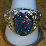 6.75 Carat Big Heavy Manand039s Solid 925 Silver Genuine Ethiopian Opal Ring