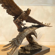 Bronze Double Flying Eagles Sculpture Animal Falcon Gorgeous Ornaments Statue
