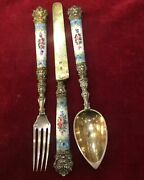 Vintage Silver Enameled Travel Set Consisting Of Spoon, Fork And Knives, Stamped