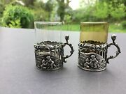Pair Sterling Silver Shot Glass Holders With Cut Crystal Inserts