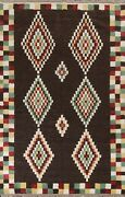 Thick-plush Modern Moroccan Berber Geometric Hand-knotted Oriental Area Rug 8x10