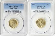 1987 And 1996 10 Gold Eagle Pcgs Ms70 Low Pop 34 And 63 Coins Low Mintage