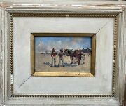 Painting Antique Andres Gimeno Born In 1879 - All Two Gypsies Biarritz 1898