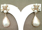 Gold Earrings Pink 12 Carats New With Pearl Drop Mabandegrave Diamond Cut Rosetta
