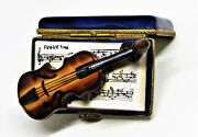 Limoges France Box Parry-vieille Open Music Book And Violin Musical Notes