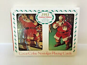 Coca-cola Christmas Santa Playing Cards In Tin With 2 Sealed Decks Vintage 1993