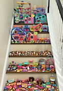 Littlest Pet Shop Lps Huge Lot 11 Playsets And Cases 105 Pets 100 + Accessories