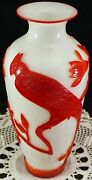 Peking Glass Overlay Carved Cameo Glass Vase Red 2 White Large Bird Flowers Etc.