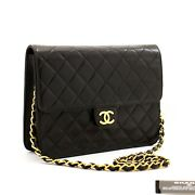 Small Chain Shoulder Bag Clutch Black Quilted Flap Lambskin Z49