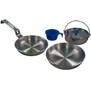 5 Piece Portable Cooking Set Heavy Duty Aluminum Cookware Fry Pan Pot With Cup