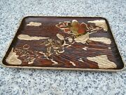 Japanese Hand Painted Wooden Tray Unusual Wood Lovely Item