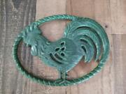 Vintage French Enamel Green Country Rooster Kitchen Trivet Made In France