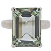 And Co Sparklers Prasiolite Green 10 Carats Ring Sterling Silver Size-5