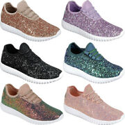 New Womens Sequin Glitter Shoes Sparkle Fashion Lace Up Comfort Athletic Sneaker