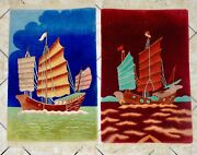 Pair Of Antique Nichols Signed Chinese Art Deco Hand Knotted Pictorial Rugs