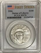 2006 100 Platinum Eagle Pcgs Ms70 First Strike Pop 48 Coins Statue Of Liberty
