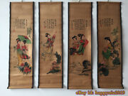 China Calligraphy Paintings Scrolls Old Chinese Painting Scroll Four Screen F531
