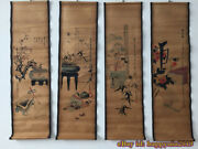 China Calligraphy Paintings Scrolls Old Chinese Painting Scroll Four Screen T395