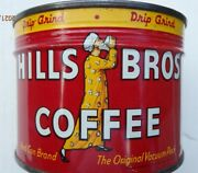 Vintage 1950and039sandnbsp Hills Bros Coffee Can Tin 1/2 Lb. Nos Mint Key Wind Full Sealed