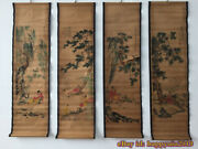 China Calligraphy Paintings Scrolls Old Chinese Painting Scroll Four Screen R666