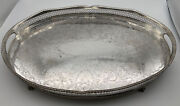 Large Vintage Sheffield Silver Plated Oval Gallery Tray, Pierced, Ball/claw Feet