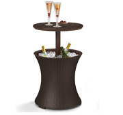 Keter Pacific Cool Bar Outdoor Patio Furniture 7.5 Beer And Wine Cooler Table