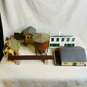 Lot Of 8+ Ho Train Buildings Plasticville Water Tower Theatre Church Trees Extra