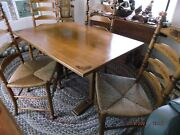 Antique American Colonial L Hitchcock Trestle Table W 4 Stenciled Ladder Chairs