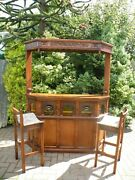 Antique English Oak Old Charm Bar And Matching Stools