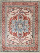 Vegetable Dye Geometric Traditional Oriental Area Rug Hand-knotted Carpet 8and039x10and039