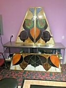 Vintage Stained Glass Panels Red Lion Salvaged Large Lot