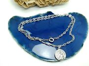 Silver Necklace Sterling Vintage Chain For Unisex Round Christian Pendant Origin