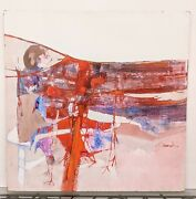 Large 4and039 Vintage Joel Durand Modernist Mcm Abstract Painting Red And Pink Figural
